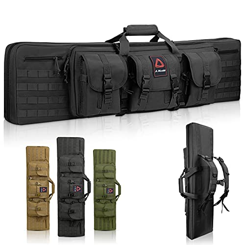 A-Maker Double Long Rifle Case, [American Classic] Tactical Gun Case for Rifles & Multi-Function Durable Rifle Bag, Lockable Gun Bag Protects Carbine and Pistol for Storage or Transportation 42'