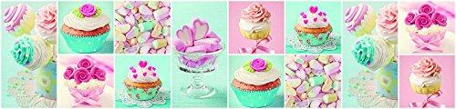 FORWALL Fototapete Küche Vlies Tapete Bunte Cupcakes und Marshmallows Wanddeko VEK (250cm. x 60cm.) AMF10447VEK Essen Süßigkeiten Kuchen Bonbon Konditorei