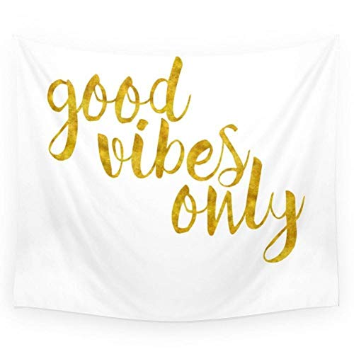 ZWBBO Wandtapijt, goede vibraties, wandtapijt, goudkleurig, sprei, slaapkamer (130 x 150 cm)