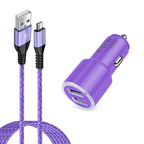 Dual 4.8A Fast Car Charger with Android Micro USB Cable for Samsung Galaxy S7 S6 J8 J7/J7V/Star/Crown/Prime/Refine J3, Note 5 4, Moto E4 E5 G4 G5 G6 Play, LG K10 K20 K30 G2 G3 G4, LG Stylo 2 3 Plus