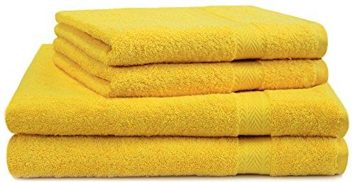Paquete de toallas amarillas 100% algodón (4 piezas)