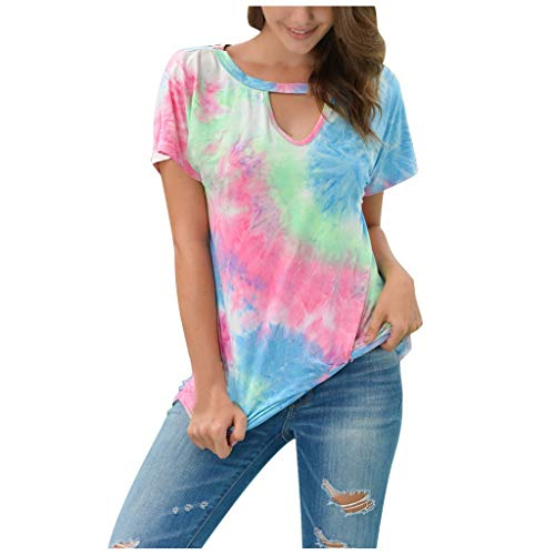 SONIGER ʕᴥʔWomen Short-Sleeved Round Neck Tie-Dye Shirt T-Shirt Bottoming Shirt Loose Summer tees Blouse Red