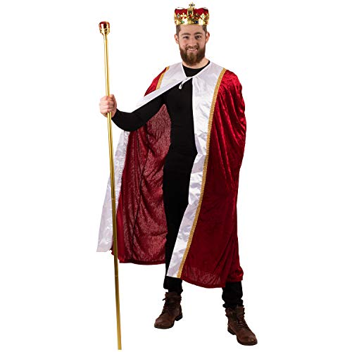 Tigerdoe King Costume-3 Pc Medieval Adult Costume Set- King Crown, Regal Robe and Royal Scepter-Costume Accessories-Dress up