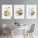 Cuadro de lienzo geométrico abstracto fruta pera manzana decoración de pared imagen cartel nórdico decoración e impresión de sala de estar 40x50cmx3 sin marco