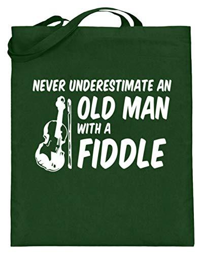 Never Underestimate An Old Man With A Fiddle - Design für Musikfans - Jutebeutel (mit langen Henkeln)