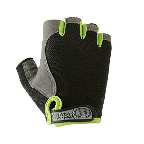 Qinghengyong 1 Paar Sportrutschfeste Handschuhe Breath Handschuhe rutschfest, stoßfest Anti-Rutsch-Fitness Radsport-Trainings-Handschuhe, Schwarz, Grün, XL