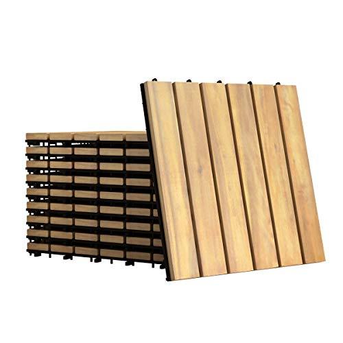 GOPLUS 10er Set Terrassenfliesen aus Akazienhartholz, Bodenbelag mit Stecksystem und Drainage Unterkonstruktion, Klickfliese, Holzfliese, Bodenfliese für Garten, Terrasse, Balkon, 30 x 30cm (Modell 2)