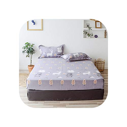 Blue Stor Gemütliche Laken |2020 1 Stück Baumwolldruck Bettmatratze Set mit Vier Ecken und Gummibändern-shouhujingling-100X200X25cm