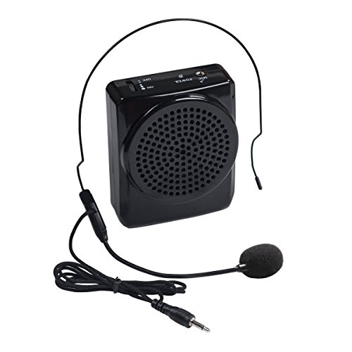 DuaFire Black Voice Amplifier Portable Microphone Headset with Waistband for Classroom Teachers, Speakers, Yoga Instructors, Gym Directors, Coaches, Presentations, Seniors and Tour Guides