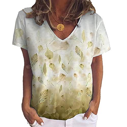 Elesoon Camiseta de verano para mujer, talla grande, bohemio, étnico, floral, estampado de hojas de manga corta, cuello en V, camisa suelta, A-caqui, 46