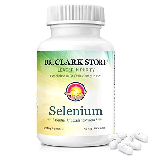 Dr. Clark Selenium Supplement 200 Mcg - Dietary Capsules with Essential Antioxidant Mineral - Improves Thyroid Function, Immune Support - 50 Capsules
