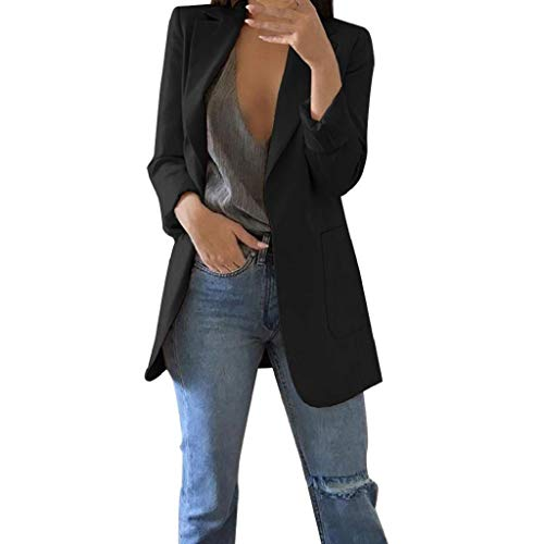 Trajes Mujer Invierno Otoño 2019 SHOBDW Liquidación Venta Abrigos Mujer Elegantes Color Sólido Chaqueta Mujer Solapa Cardigan Mujer Largos Rebajas Casual Blazers Mujer Talla Grande(Negro,L)