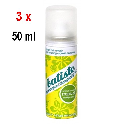 3X Batiste Shampoo a secco–tropicale–sofortige capelli erfrischung–50ML