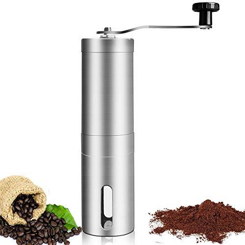 YAOI Manuelle Kaffeemühle, Handkaffeemühle aus Edelstahl Kaffeemühle mit Keramikmahlwerk Hand-Kaffeemühle Espressomühle mit stufenloser Einstellung des Mahlgrads