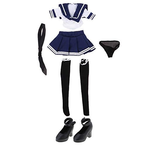 CUTICATE Puppe High Heels + Schulmädchen Outfit mit Strümpfe Dessous Für 1/6 BJD Puppen Zubehör