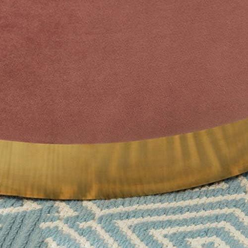 ATTDDP Pouf Tabouret Rond Pouf Rembourre - Repose-Pieds Change Banc Shoe Flanelle Tissu Couverture Colonnaire Rembourré Pied Tabourets Chaise Sièges Tabouret,Rose Green