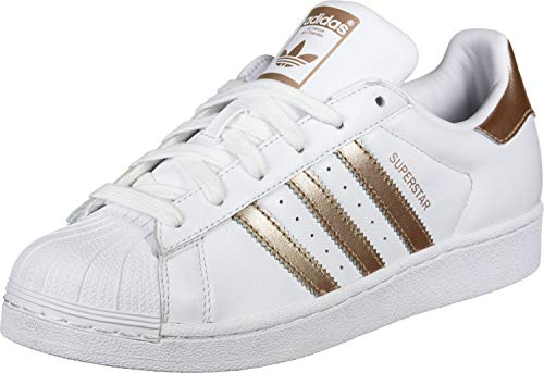 adidas Women's Superstar W Gymnastics Shoes, White (FTWR White/Copper Met./Core Black FTWR White/Copper Met./Core Black), 3.5 UK