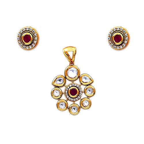 JewelryOnClick chapado en oro-cobre Red Kundan Ruby CZ