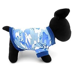 Zunea Pet Vêtements Vêtements pour chiens de petite taille Chat 100% coton Camo Camouflage T-shirt pour homme Imprimé Bleu