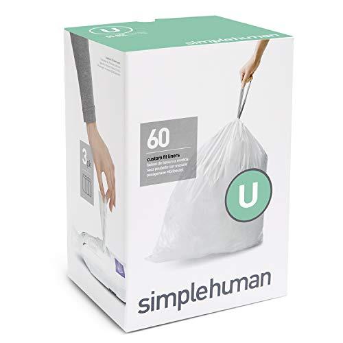 simplehuman Code U Custom Fit Drawstring Trash Bags, 55 Liter / 14.5...