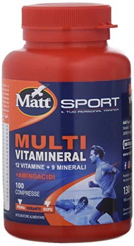 Matt Sport - Multivitamineral con Aminoacidi - Integratore Alimentare in Compresse Multivitaminico con Minerali e Aminoacidi - 100 Compresse - 130 gr