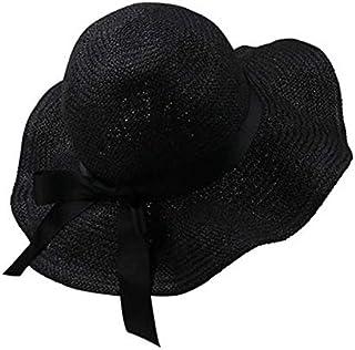 ZXH77f-Fashion hat Women's Sun Hats,Straw Panama Style Sun Hats for Beach Safari Hat Packable & Adjustable,Women Straw Sun Hat (Color : Blue)
