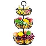 3 Tier Fruit Basket - ESEOE Large Size Countertop Fruit Vegetables Basket Bowl Stand Storage Organization for Kitchen Home