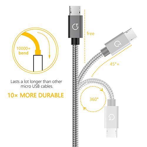 Gritin Micro USB Kabel, [3 Pack 1M+1.5M+2M] Nylon Micro USB Ladekabel Schnellladekabel Stabil & Beständig für Android Smartphones, Galaxy, HTC, Sony, Nexus und mehr