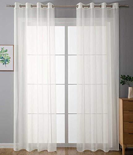 2er Set Ösenvorhänge Transparent »Uni« Gardine HxB 225x140 cm Creme Stores Vorhang Ösen Bleibandabschluß Wohnzimmer, 20332-cn2