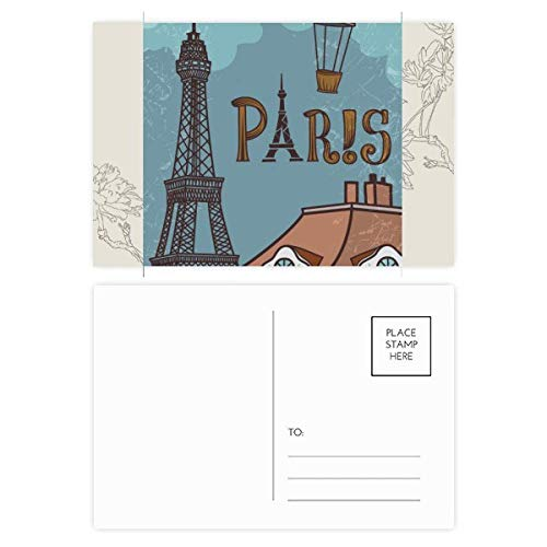 DIYthinker Paris Fire Ballon Frankrijk Eiffeltoren Bloem Postkaart Set Thanks Card Mailing Side 20 stks 5.7 inch x 3.8 inch Multi kleuren