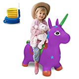 LEMBO DIRECT Unicorn Bouncy Horse, Inflatable Jumping Horse Bouncer Space Hopper, Ride-On Hopping Animal Toy with Pump, Activities Gift Ideal for Kids, Toddlers, Boys and Girls (Purple)