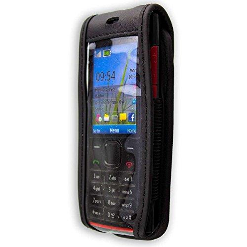 caseroxx Handy-Tasche Ledertasche mit Gürtelclip für Nokia X2-00 aus Echtleder, Handyhülle für Gürtel (mit Sichtfenster aus schmutzabweisender Klarsichtfolie in schwarz)