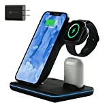 Wireless Charger, 3 in 1 Qi-Certified 15W Fast Charging Station for Apple iWatch Series 6/5/4/3/2/1,AirPods,Wireless Charging Stand for iPhone 12/11 Series/XS MAX/XR/XS/X/8/8 Plus/Samsung (Black)