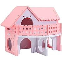 POPETPOP Hámster, balcón, casa, hámster, hábitat de Madera, Jaula, Nido para Dormir de pequeños Animales para cobayo Chinchillas de Rata (Rosa)