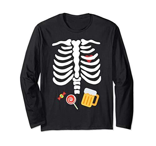Halloween Skelett Kostüm mit Süßigkeiten & Bier Langarmshirt