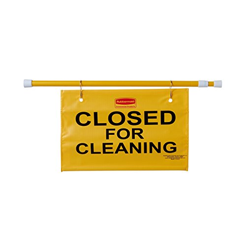 "Rubbermaid Commercial Extend-to-Fit ""Closed For Cleaning"" Hanging Doorway Safety Sign, Yellow (FG9S1500YEL)"