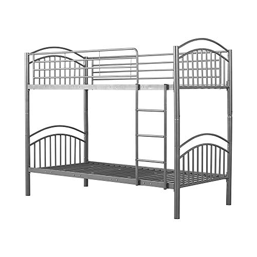 Metal Bunk Bed - Splits into Two 3ft Single Beds,Black Colour (Silver)