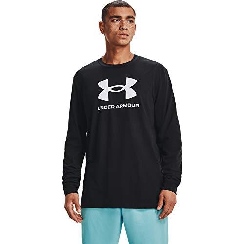 Under Armour Camiseta de manga larga con logotipo deportivo para hombre - 1362743, Camiseta de manga larga con logotipo de Sportstyle, 3XL, Negro (001)/Blanco