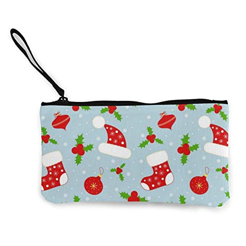 XCNGG Monederos Bolsa de Almacenamiento Shell Merry Christmas Vector Canvas Coin Purse with Zipper Coin Wallet Multi-Function Small Purse Cosmetic Bags For Women Men