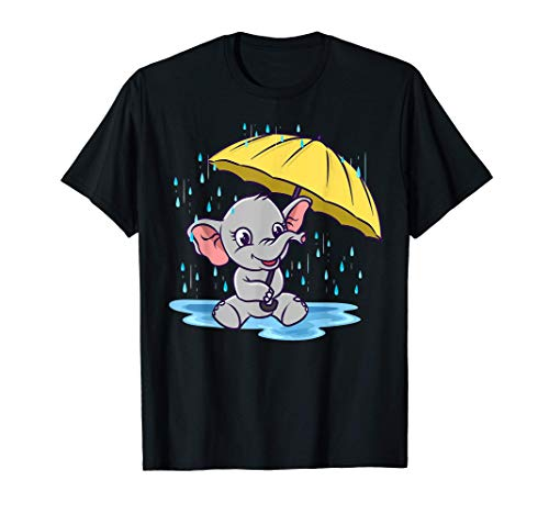 Bebé elefante bajo la lluvia Cute Kids Zoo Animals Camiseta