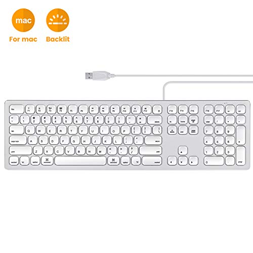 Perixx PERIBOARD-325 Wired Backlit Aluminum USB Keyboard, Compatible...