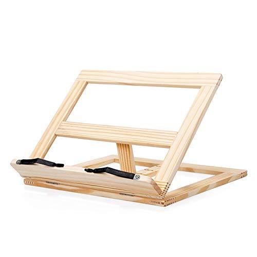 Yhtech resistente a los arañazos Los niños estudiantes de lectura Sujetalibros de madera ajustable Book Magazine soporte de sobremesa de la tableta Soporte multi-funcionales Pintura rack Para regalos,