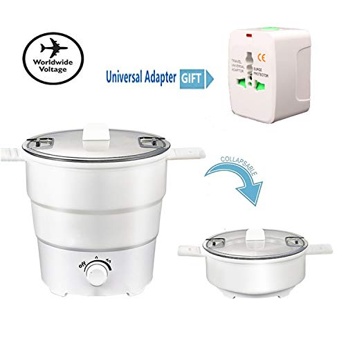 Portable Mini Electric Cooker Foldable Silicone Kettle Steamer Foldable Storage - Double Voltage...