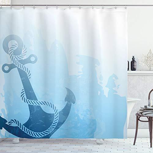 ABAKUHAUS Anker Duschvorhang, Nautische Tiefseeboden, mit 12 Ringe Set Wasserdicht Stielvoll Modern Farbfest & Schimmel Resistent, 175x180 cm, Hellblau