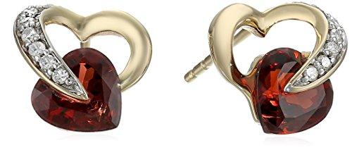 Hot Sale 10k Yellow Gold Heart Garnet Diamond Earrings (0.08 cttw, I-J Color, I2-I3 Clarity)