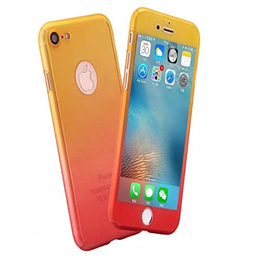iPhone 8 Full Body Hard Case,iPhone 7 Slim Sleek Front Back Case,Auroralove 360 Degree All Around Shockproof Cover with Tempered Glass Screen Protector for iPhone 8/7 4.7 Inch(Yellow Red)