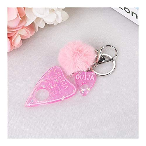 LK's Shop Keychain 1PC Women Keychain Ouija Planchette Rresin Charms Handbag Keyring with Puffer Ball Ouija Board Keyring Decorations (Color : Hotpink)