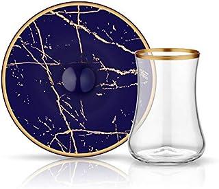 Koleksiyon Dervish Tea Glass Set of 12 Pieces, Marble Cobalt