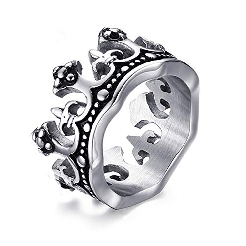LIDAYE The King Crown Ring para Hombre Anillo de Acero de Ti