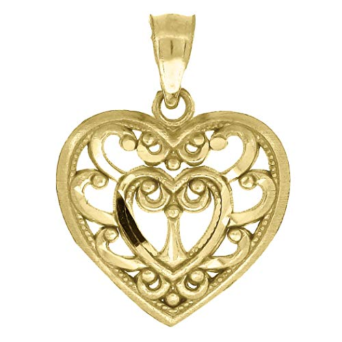 10k Yellow Gold Womens Filigree Heart Love Charm Pendant Necklace Measures 18.8x14.10mm Wide Jewelry Gifts for Women - Higher Gold Grade Than 9ct Gold